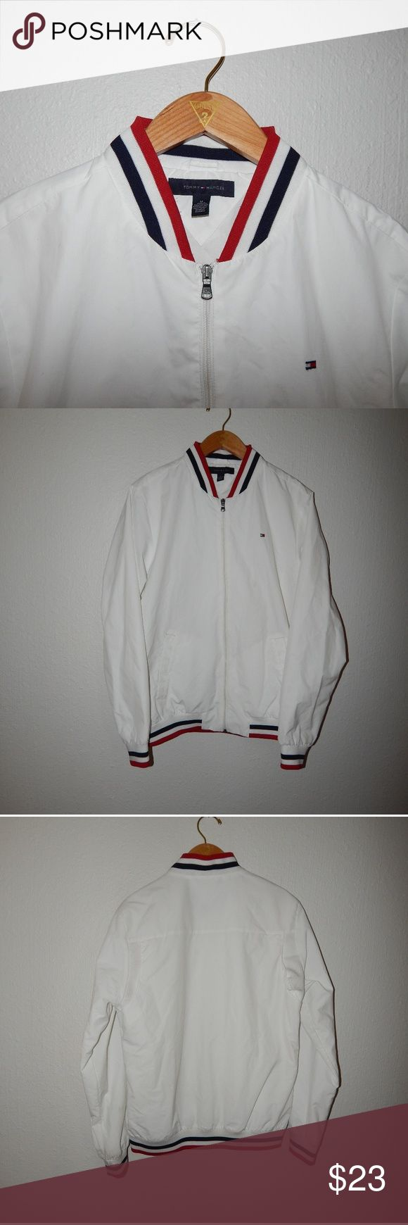 VTG Tommy Hilfiger Bomber Jacket White Tommy Hilfiger bomber jacket in 9/10 condition no major flaws just needs thrown in the washer. Men's size Medium message for measurements. Always willing to do lower pricing on bundle deals. Same day shipping. Tommy Hilfiger Jackets & Coats Windbreakers
