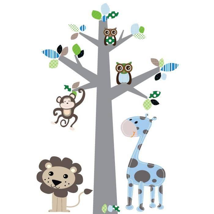 Muursticker boom Jungle blauw van het merk DecoDeco hier online kopen. Lieve muursticker boom met jungle dieren voor kinderkamer of babykamer.