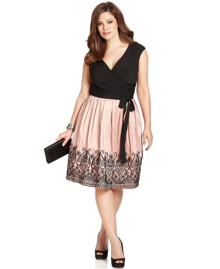 SL Fashions Plus Size Embroidered Pleat Dress - Plus Size Dresses - Plus Sizes…