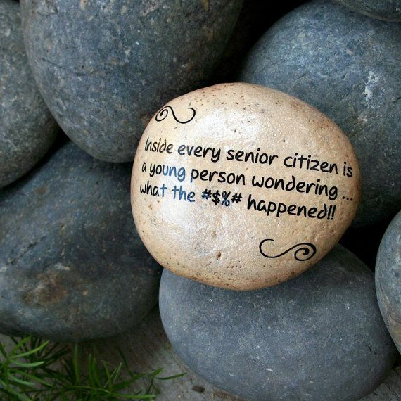 Senior Citizen Humor. Message Stone. Fun Humor by holidayhijinks