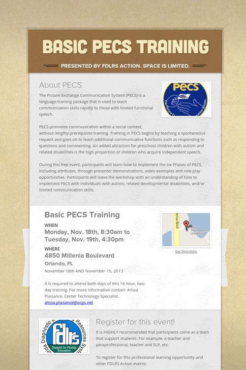 Basic PECS Training Nov. 2013 Picture Exchange Communication System #visualsupports #autism