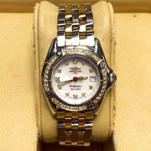 28mm BREITLING 1884 Callistino 2 Tone Ladies Watch w/ MOP Factory Diamond Dial