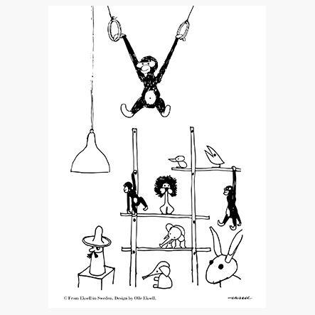 Monkey poster designed by Olle Eksell - unframed (size 50 x 70 cm)   room to decorate   scandinavian and vintage designed homewares - online shop