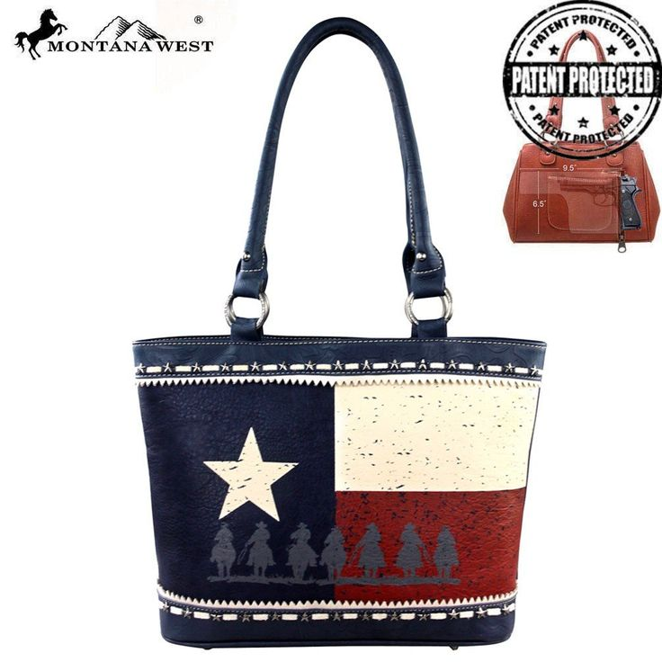 Montana West Texas Pride Collection Concealed Carry Handbag Navy Mw219g-8317. Concealed Carry. Vegan Leather. Texas Pride Collection. Cowboy Image. Double Handle.