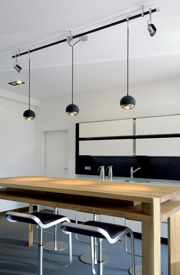 cool track lighting for a kitchen dining room