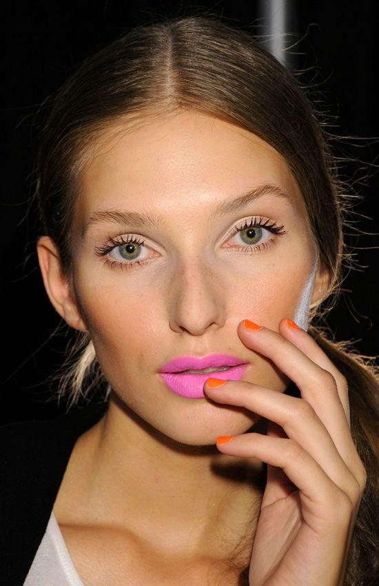 pink lips. orange nails.: Lipsticks, Lips Color, Hairs, Makeup, Pink Lips, Orange Nails, Beauty,  Lips Rouge, Bright Lips
