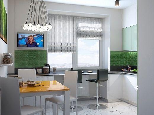 Кушать на кухне можно как за обеденным раскладным столом, так и за многофункциональной рабочей зоной у окна, где удобно разместиться на высоких барных стульях.