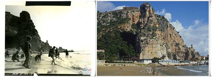 Un plotone di soldati USA bonifica la spiaggia di Terracina dalle mine nemiche dopo la cattura della città. Sullo sfondo  la fortezza rocciosa che i tedeschi hanno usato senza successo contro le truppe alleate .  #Terracina, Italia. 26  #maggio1944