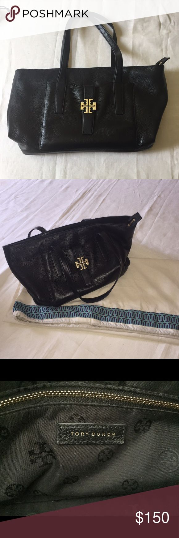 Black Tory Butch Pebbled Leather Purse Lightly used Tory Burch pebbled leather tote; gold hardware; black canvas interior; original dust bag included Tory Burch Bags Totes
