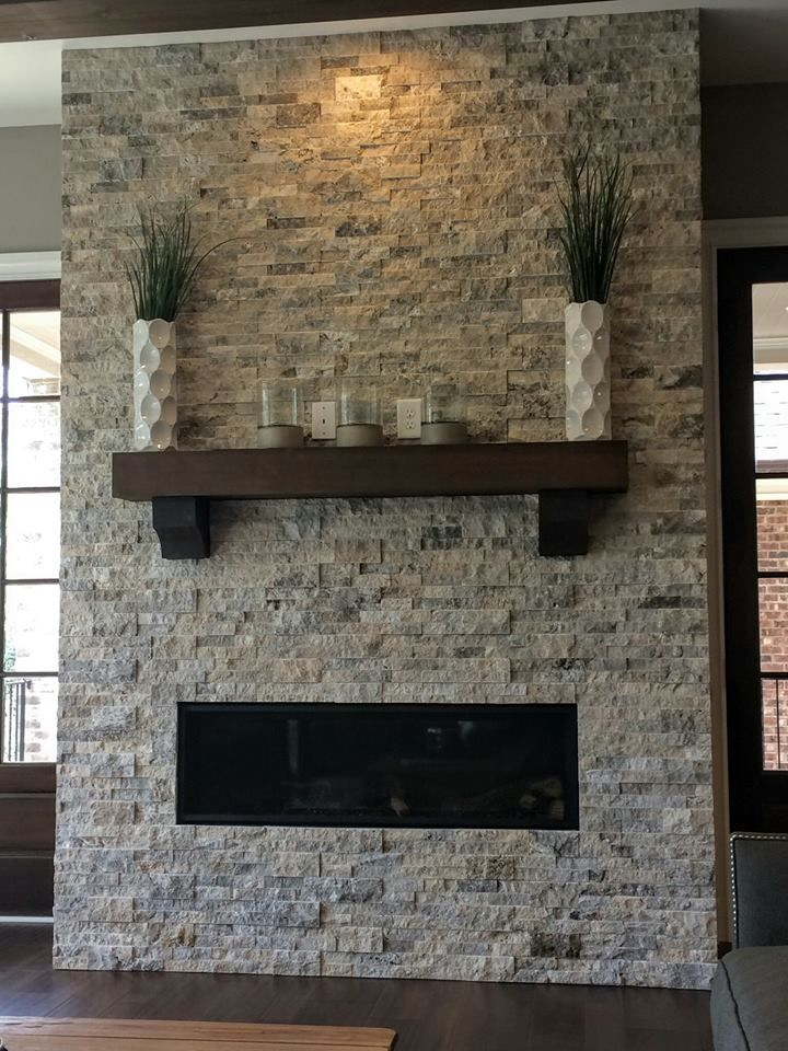 Silver Travertine Stacked Stone Fireplace Redo Fireplace Remodel Indoor Fireplace