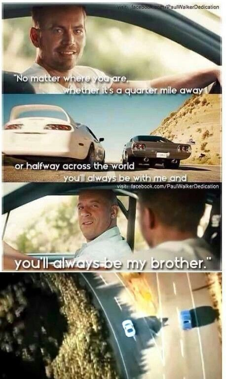 Fast and furious 7 tribute to Paul walker. It made me tear up when I watched this part