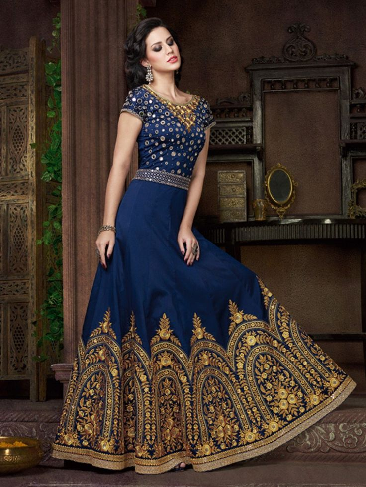 Blue Georgette Anarkali Suit with Embroidery Work