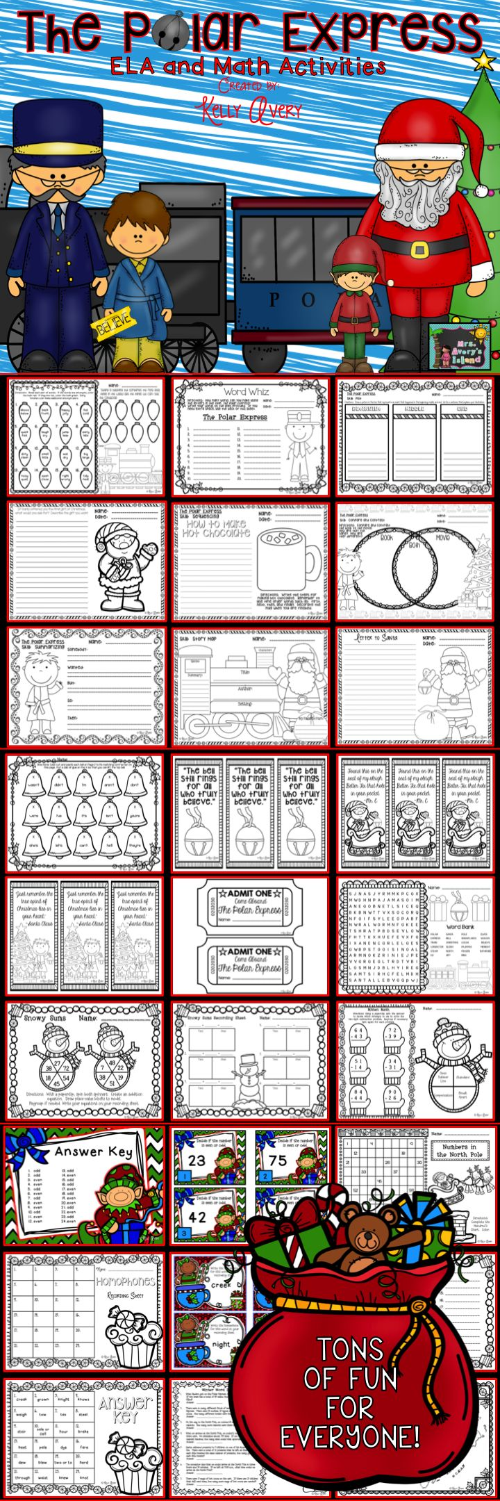 The perfect bundle of activities for The Polar Express and December!  #teachersfollowteachers #teacherspayteachers #tpt #iteachtoo #teachers