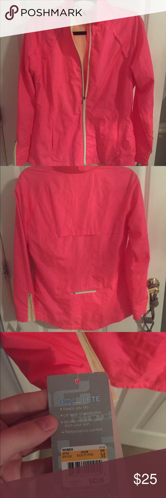 Hind neon pink zip up windbreaker jacket NWT M Never worn! New with tags! Hind Jackets & Coats Utility Jackets