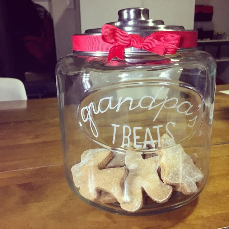Etched glass cookie/treat jar - handmade personalised gift