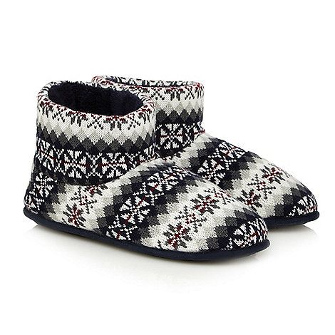 Totes Grey memory foam slipper boots in a gift box | Debenhams