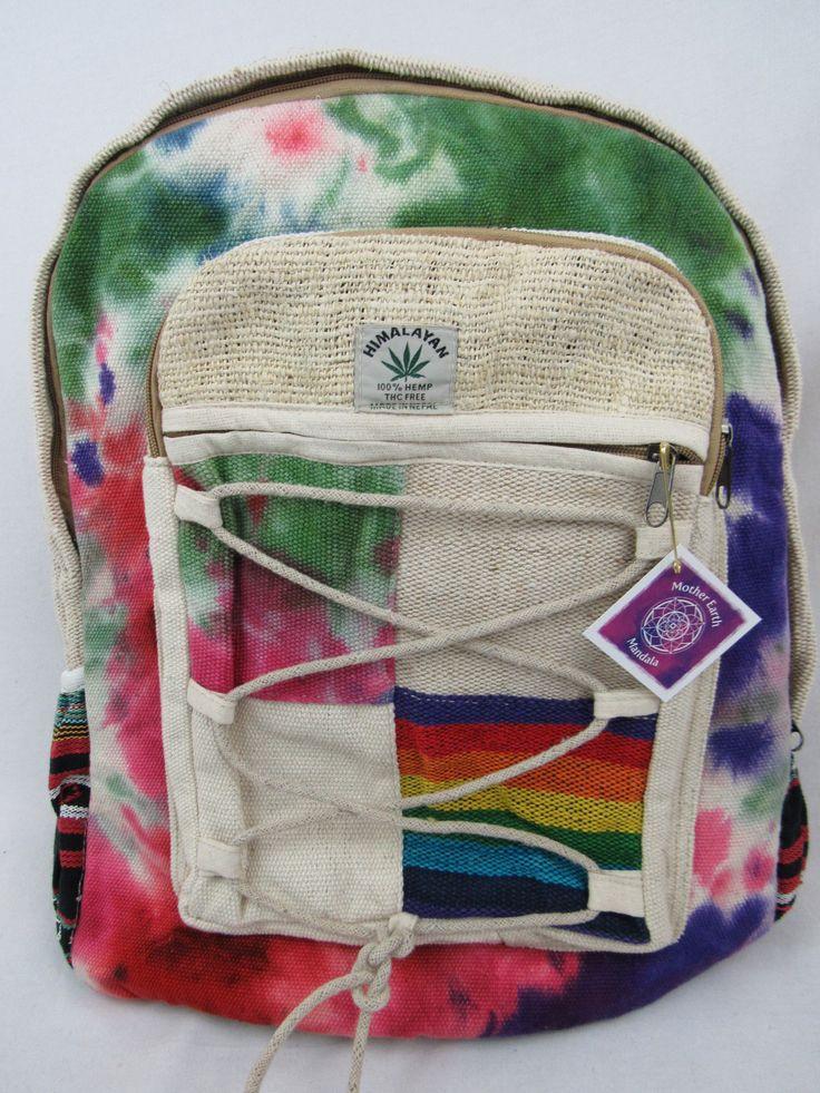 Hemp eco friendly handwoven nepal backpack eco friendly rasta clothing rainbow clothing tie dye by Motherearthmandala on Etsy