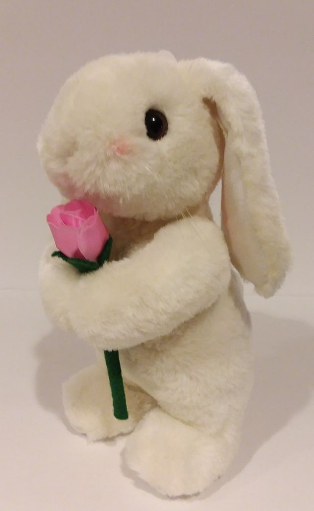 Vintage 90's White Lop Bunny Rabbit with Pink Flower Stuffed Plush Doll 1996