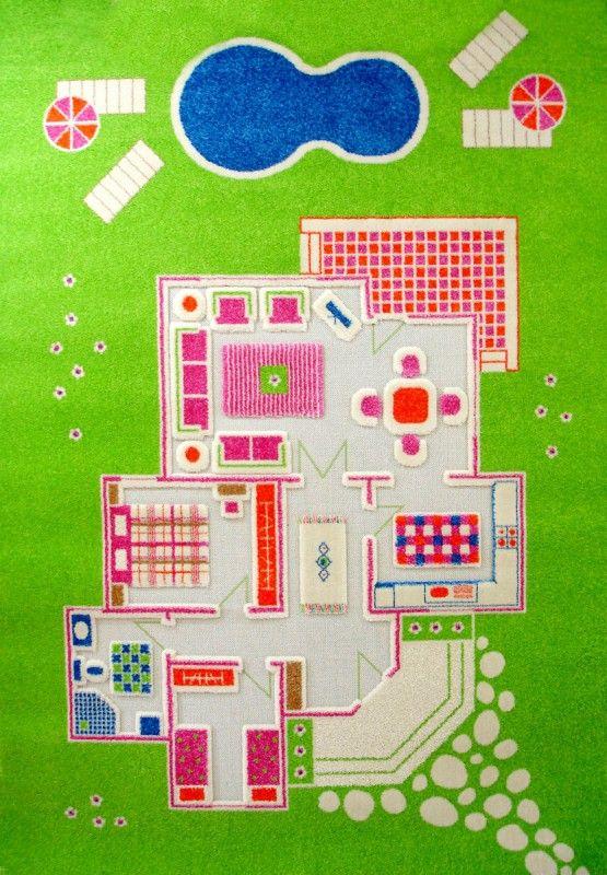 Superb Design Spielteppich und Kinderteppich Puppenhaus Villa mit D Effekt gr n in Gr ssen