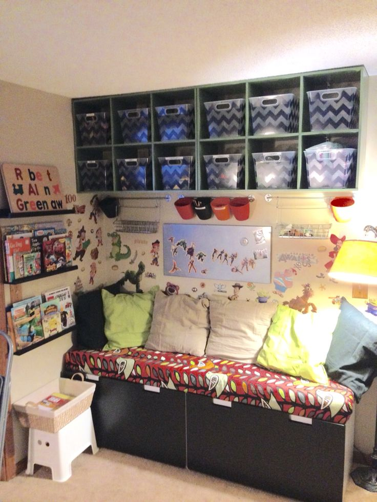 Play area ikea stuva bench with cushion ikea picture rail for Reading nook cushion