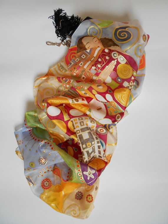 Hand painted silk scarf the embrace by Gustav by AdeleDaniele