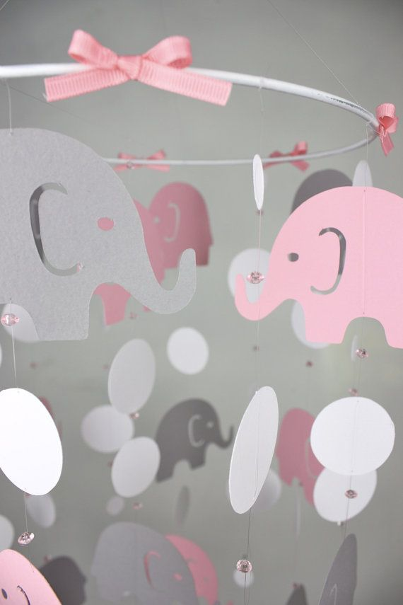 Elephant Baby Mobile - Pink Gray Baby Crib Mobile - Girl Nursery Mobile - Elephant Parade Whimsy  - CHOOSE colors on Etsy, $55.00