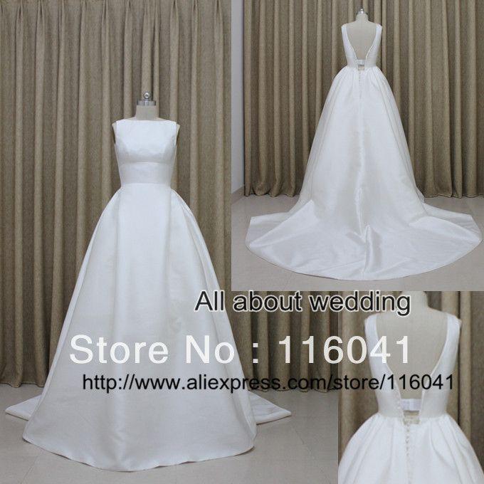 6 нежный простой атласная свадебные платья с створки в нижней части спины 2014 заводские реальные фото бесплатный Shipping5, принадлежащий категории Свадебные платья и относящийся к Одежда и аксессуары на сайте AliExpress.com   Alibaba Group