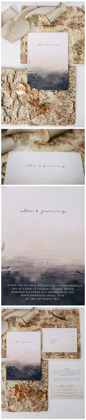 Boho wedding invitation from Lilac and White. Modern wedding invitations. Simple and whimsical wedding invite.