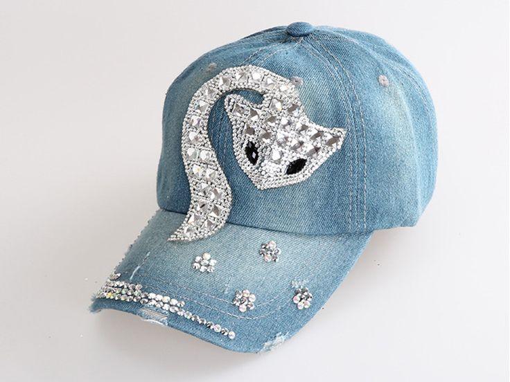 Denim Baseball Cap, featuring Bling Bling rhinestone embellishment in fox design