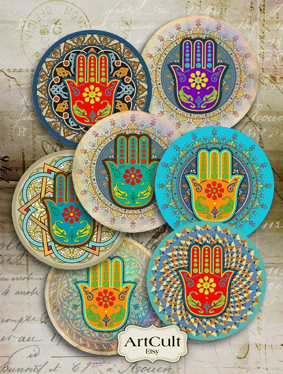 FATMA'S HAND - 2.5 inch Digital Collage Sheet #moroccan #Hamsa #Spiritual Amulet images for Pocket Mirrors Magnets Paper Weights Printable: