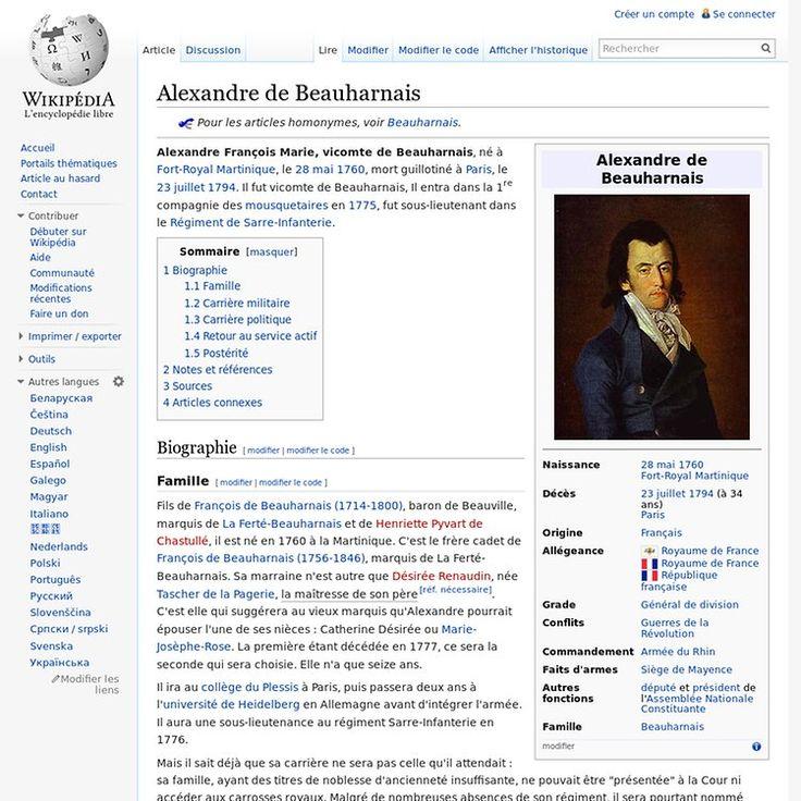 Alexandre de Beauharnais 1760-1794 | Pearltrees