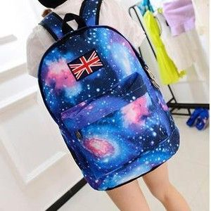 Galaxy-Print Appliqué Backpack featuring polyvore fashion bags backpacks backpack bolsas accessories knapsack bags galaxy print backpack rucksack bag planet bags blue backpack
