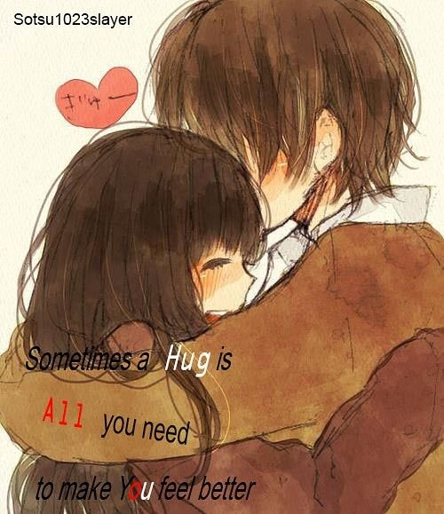 Hug, makes you feel better, Anime Couple, Friends, cute, Girl, Boy,