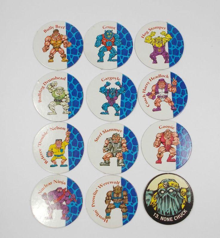 Monster Wrestlers In My Pocket - Pogs - Tazos X 12