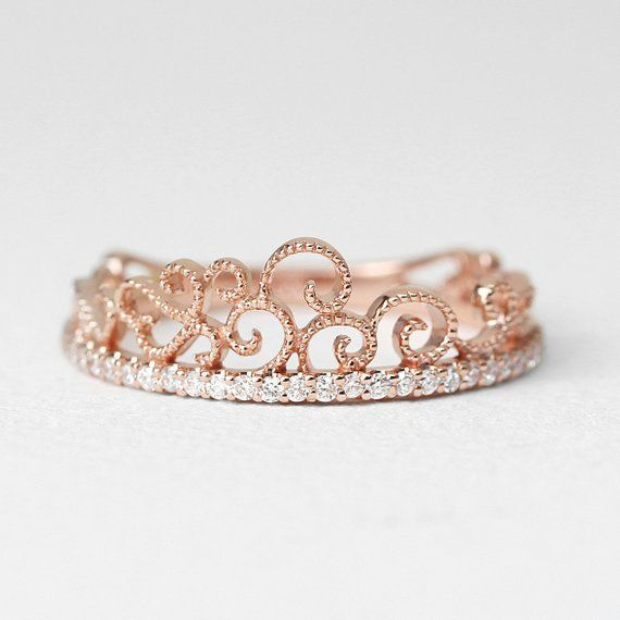 Wedding Band Diamond Wedding Band Princess Crown Diamond Ring Tiara Ring Diamond Set Gold Crown Ring Crown Ring Unique Ring Gold Diamond Band Diamond Wedding Bands Tiara Ring