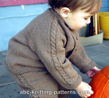 ABC Knitting Patterns - Easy Cable Seamless Child's Cardigan. Free...use different buttons and colours
