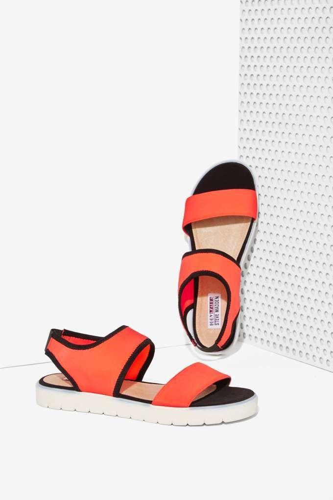 Iggy Azalea x Steve Madden Pressin Neoprene Sandals - Shoes | Flats