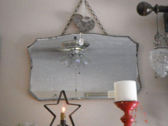 vintage frameless mirrors | Vintage Art Deco Frameless Beveled Mirror