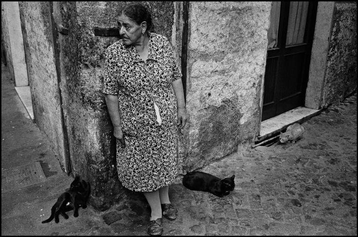 Richard Kalvar - Rome. Woman with three cats, Trastevere. 1978.