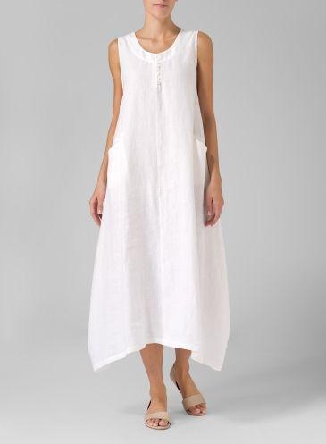Linen Sleeveless Long Dress Soft White