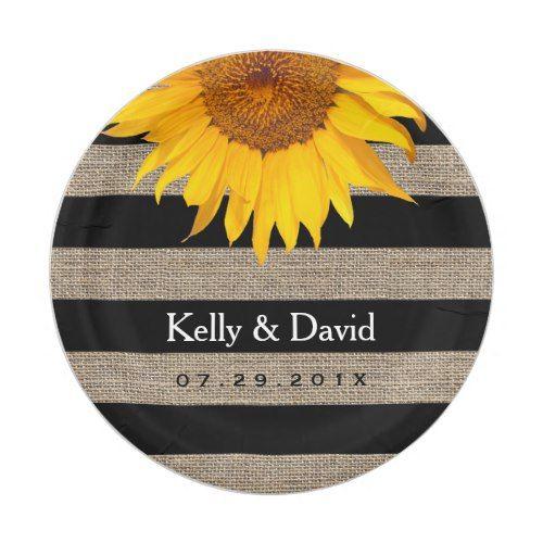 Rustic Sunflower Burlap Stripes Elegant Wedding Paper Plate