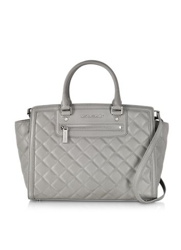 Michael Kors Selma Large Pearl Grey Quilted Leather Satchel