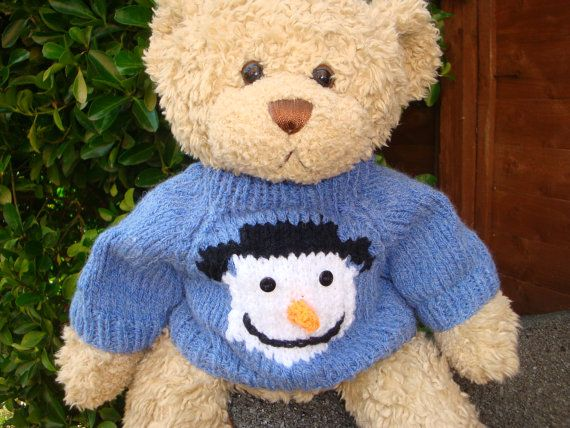 Christmas Teddy Bear Sweater Hand Knitted Snowman