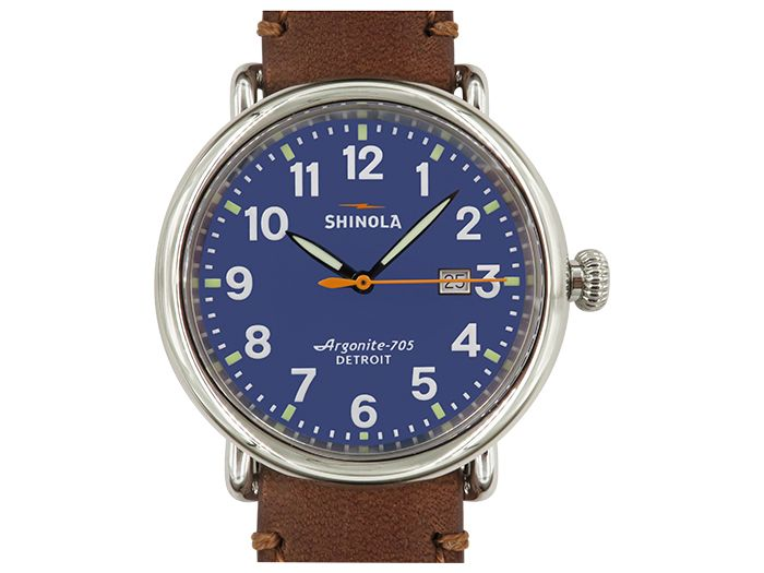 Shinola Runwell 41MM Stainless Steel Watch, Featuring a Blue Dial, Brown Leather Strap and Quartz Movement