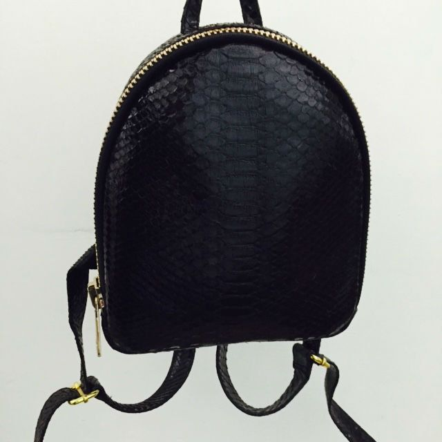 FREE SHIPPING. Black leather Backpack. Designer leather handbag. Python Leather Backpack. Black leather women handbag. ブラックレザーのバックパック by StudioANTU on Etsy