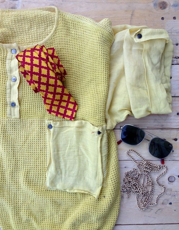 Summer Vintage outfit -  Yellow Shirt, Sunglasses, Tie