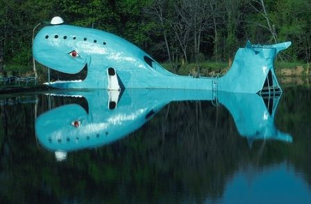 Driving down historic Route 66 you have to stop in and see the nostalgic Blue Whale in Catoosa, Oklahoma.