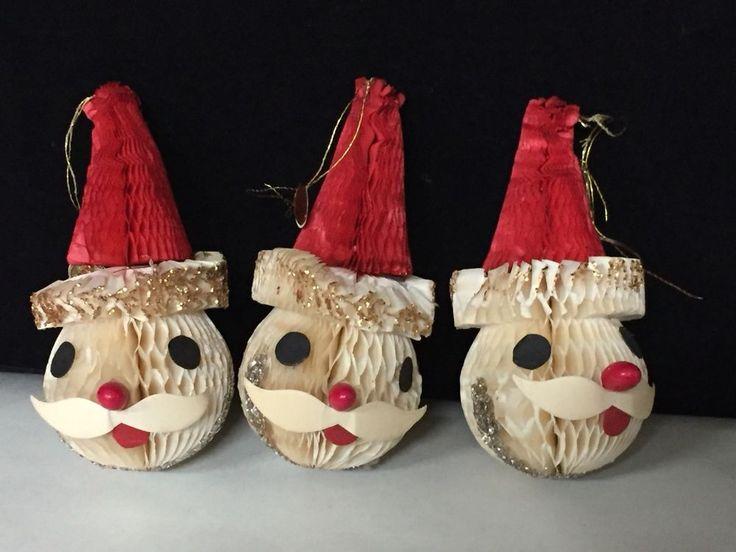 (3)  Honeycomb Paper Snowmen Christmas Ornaments Vtg Japan Howard Holt