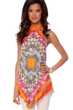 Paisley Pleated Halter Top in Orange Multi $22 at www.tobi.comClothing Envy, Paisley Pleated, Halter Tops, Closets, Products