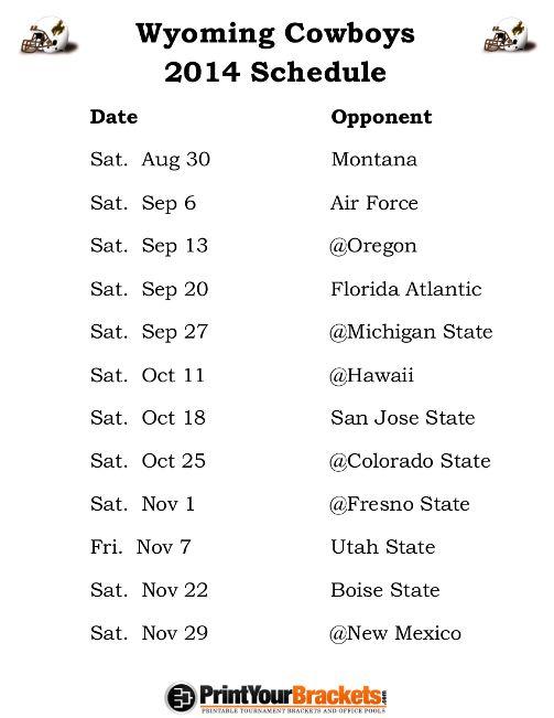 Printable Wyoming Cowboys Football Schedule 2014